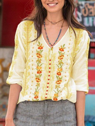 V Neck Long Sleeve Cotton-Blend Shirts & Tops
