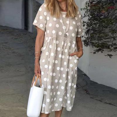 Women Cotton Linen Pocket Polka Dot Print Party Dress