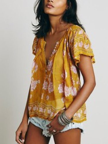 Yellow Floral Faux Leather Short Sleeve Casual Shirts & Tops