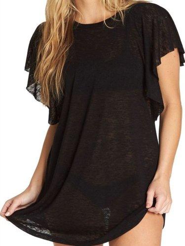 Black Short Sleeve Plain Crew Neck Cotton Shirts & Tops