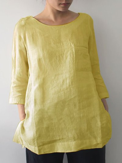 3/4 Sleeve Solid Casual Shirts