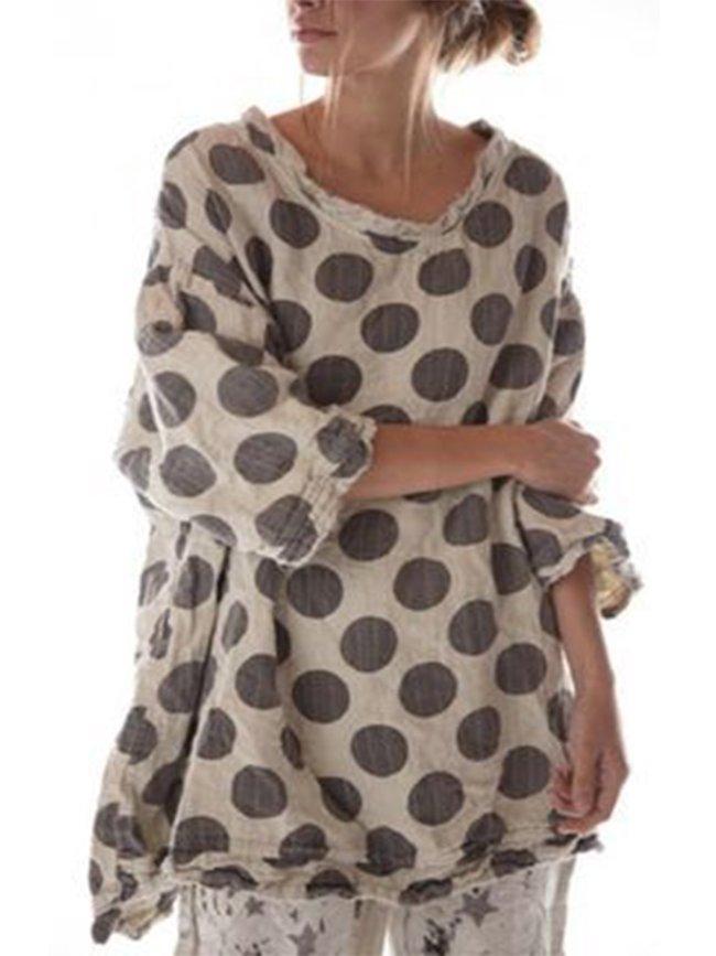 3/4 Sleeve Cotton-Blend Shirts & Tops