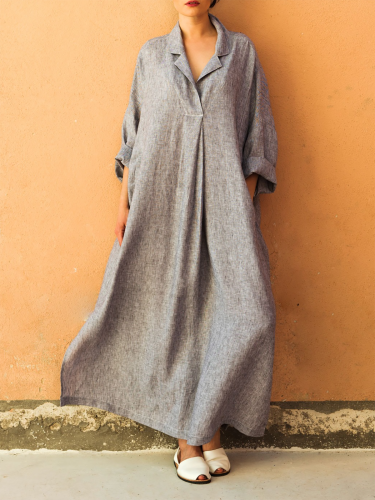 Paneled Cotton Basic Long Sleeve A-line Midi Dress