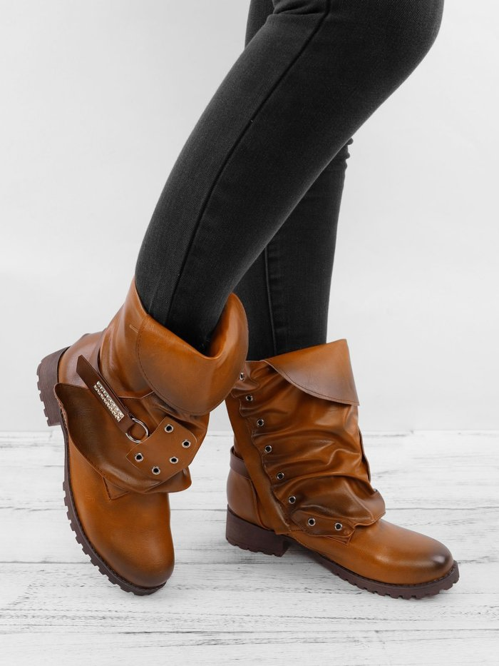 Women Vintage Mid Calf Booties Casual Plus Size Shoes