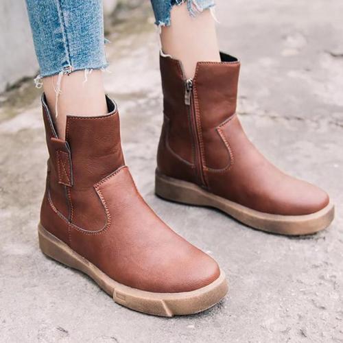 Womens PU Chunky Heel Zipper Martin Boots
