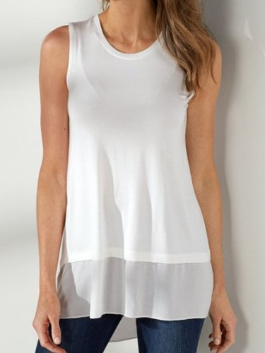 Sleeveless V Neck Solid Casual Shirts & Tops