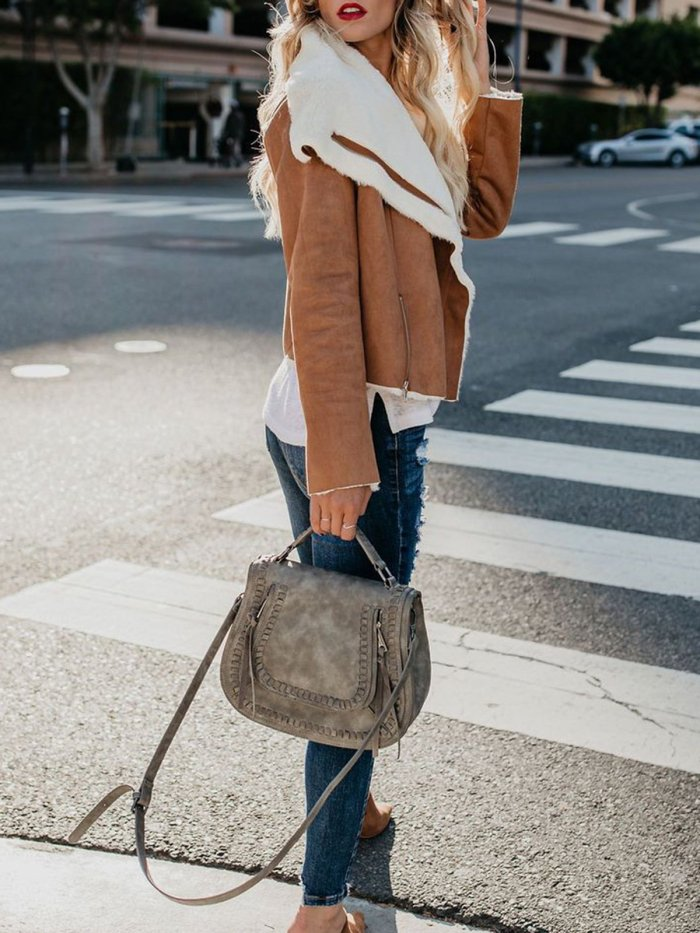 Caramel Pockets Wool Blend Shawl Collar Long Sleeve Jackets