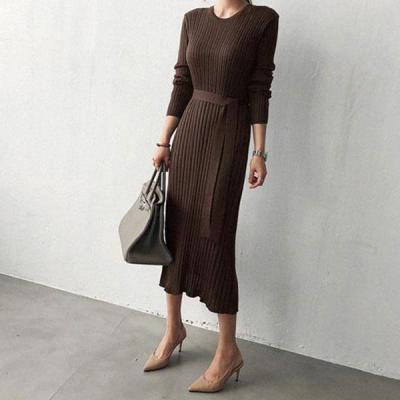 Casual Simple   Fashionable Shown Thin Sweater Knitted Maxi Dress