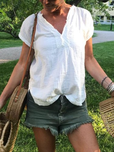 White Short Sleeve Solid Shirts & Tops