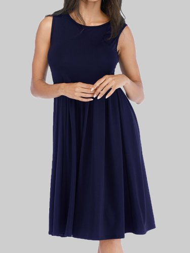 Women Plain Midi Dresses Crew Neck A-Line Daily Casual Dresses