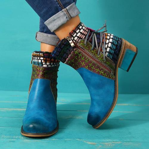 Women Round Toe All Season Lace-Up Casual Chunky Heel Pu Ankel Boots