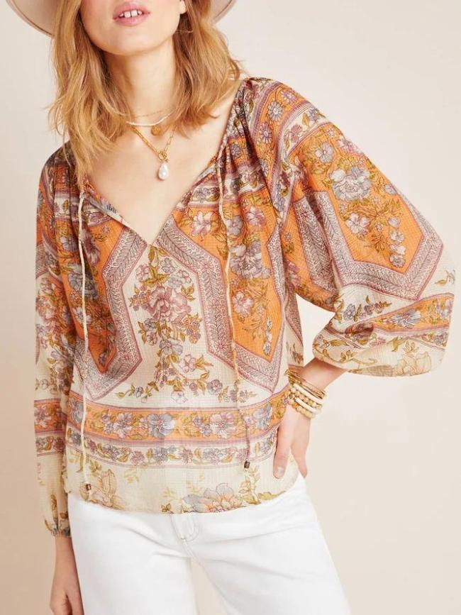 Western style casual loose large size floral print shirt and top