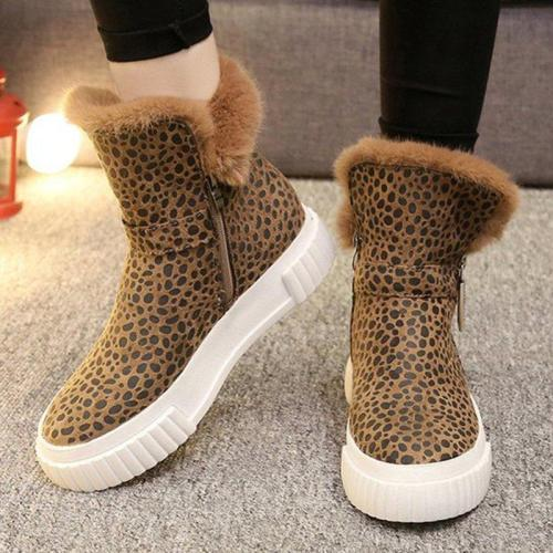 Women Casual Leopard Boots Zipper Shoes