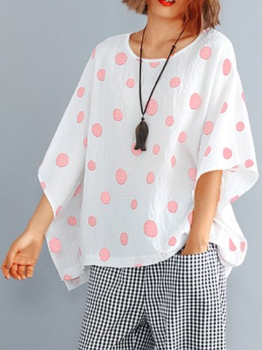 Plus Size Women Bat Sleeves Round Neck Cotton And Linen Polka Dots Loose Casual Tops