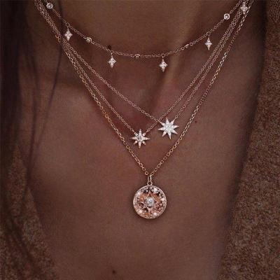 New Style Women Fashion Moon Star Pendant Necklace Elegant Jewelry Accessories Choker