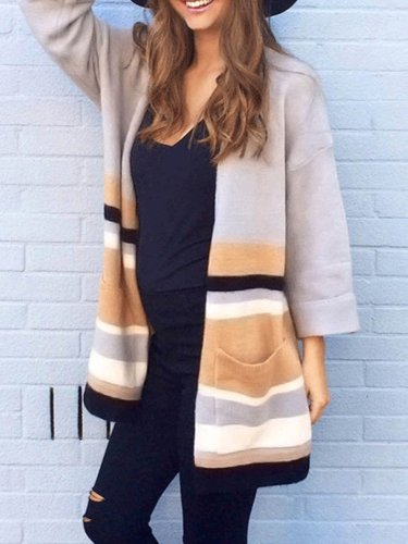 Fashion Colorblock Long Sleeve Cardigan Coat
