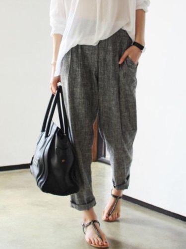 Smoke Gray Cotton Casual Pockets Pants