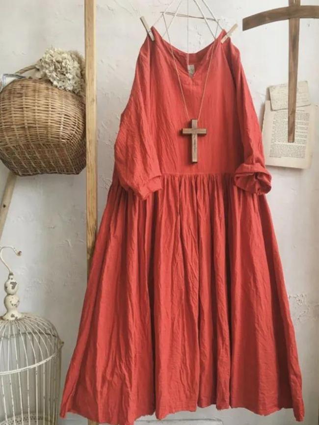 Red Long Sleeve Casual Linen Plain Dresses