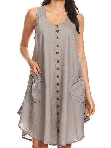 Women Dress Pockets Buttons Round Neck Asymmetrical Dresses