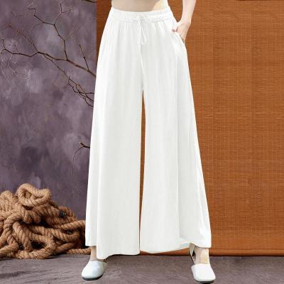 Loose Drawstring Solid Color Cotton Wide Leg Women's Plus Size Linen Casual Pants