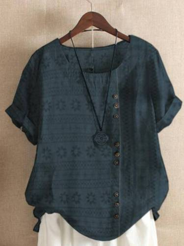 Short Sleeve Round Neck Buttoned Shirts & Tops