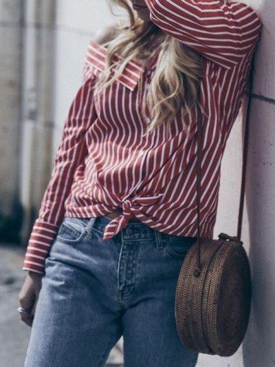 Casual Cold Shoulder Asymmetric Neck Striped Shirt