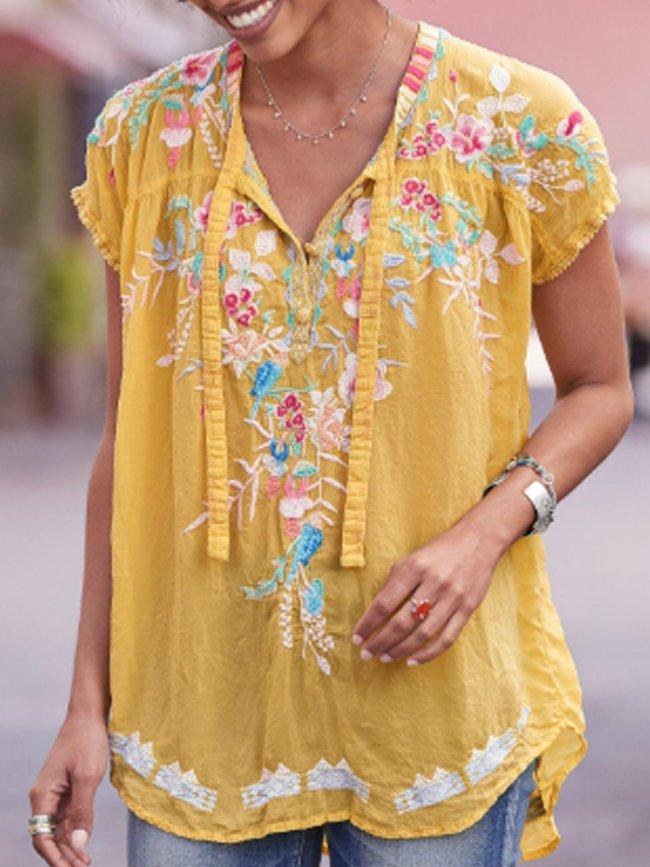 Short Sleeve Casual Cotton-Blend V Neck Shirts & Tops
