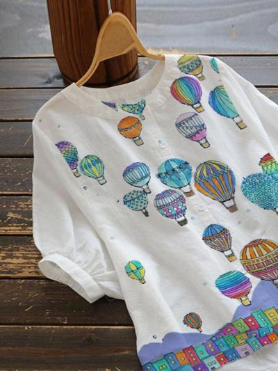 White Casual Crew Neck Floral-Print Cotton-Blend Shirts & Tops