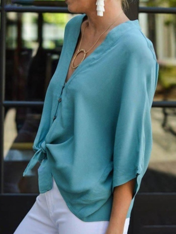 Women Blouses Knot Front V-Neck 3/4 Sleeves Buttoned Tops