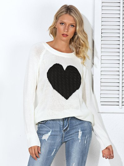 Heart Printed Crew Neck Knitted Long Sleeve Sweaters