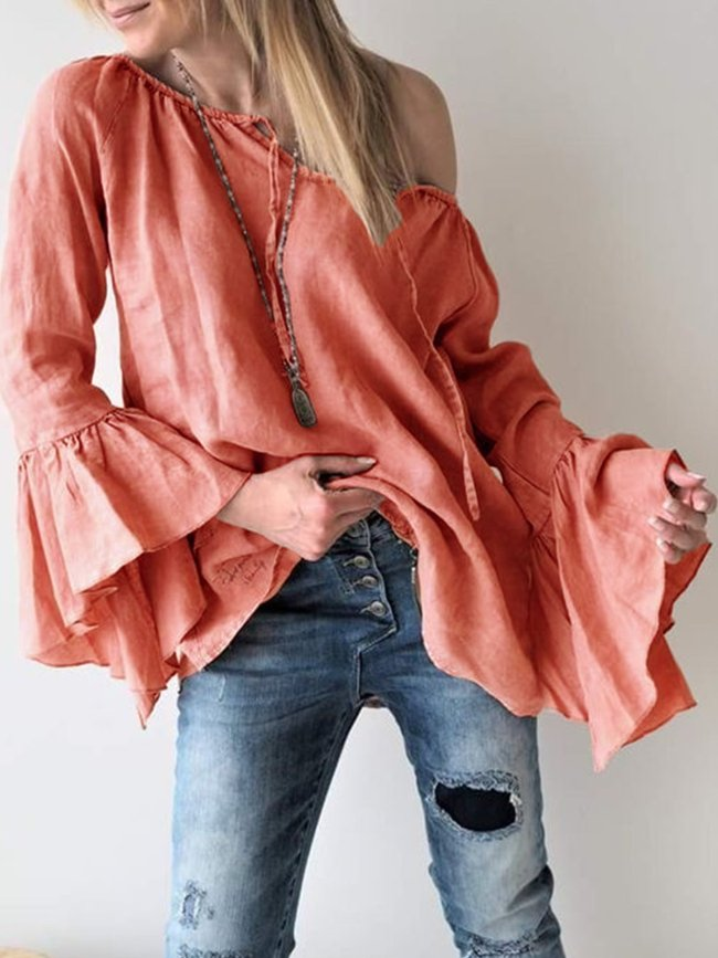 Patchwork Cotton-Blend Sexy V Neck T-Shirts
