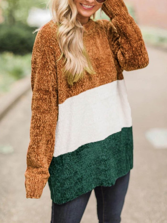 Brown Simple & Basic Fall&Winter Color-Block Knit Wear Sweaters