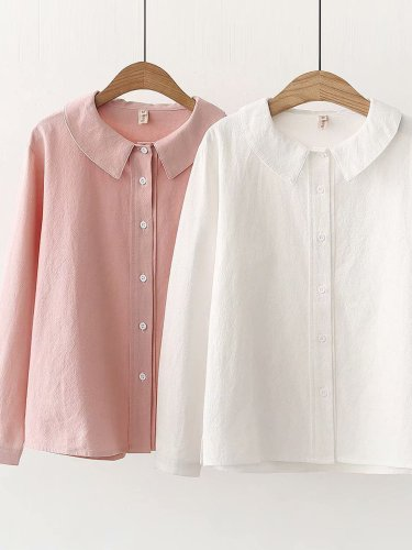 Women Casual Peter Pan Collar Tops Tunic Blouse Shirt