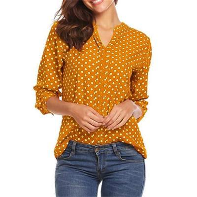 Plus Size Polka Dot Chiffon Blouse Shirts V-neck Long Sleeve Tops