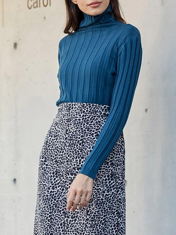 Blue Simple & Basic Knitted Sweater
