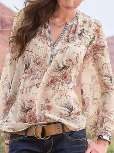 Casual Floral Cotton-Blend Shirts & Tops