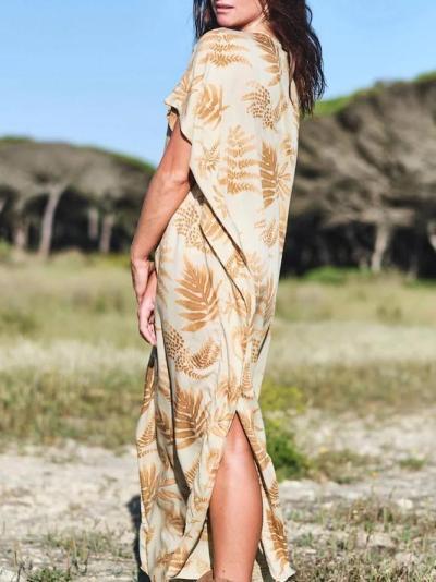 Leaves Short Sleeve V Neck Dresses