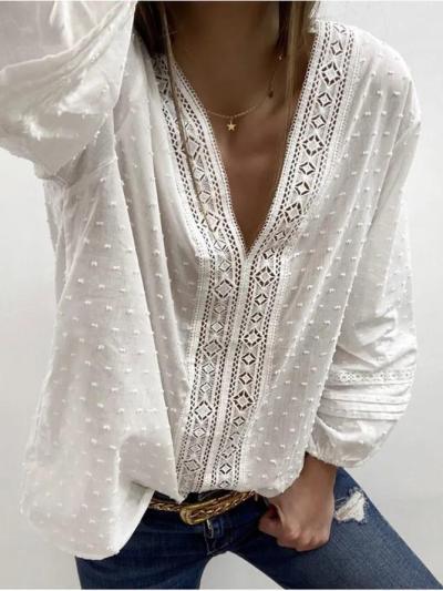 Women V-Neck 3/4 Sleeves Casual Blouses