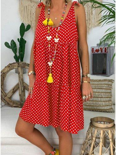 U-Neck Polka Dots Casual Dresses
