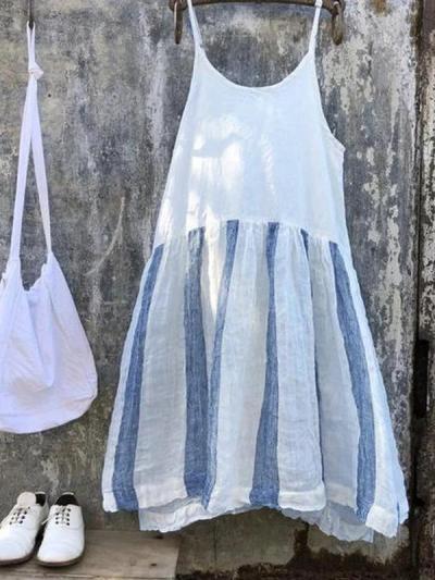Striped Patchwork Spaghetti-Strap Casual Dresses