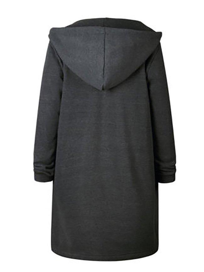 Deep Gray Shift Plain Pockets Casual Coats