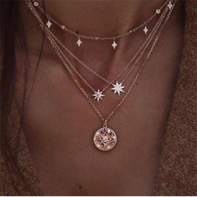 New Bohemia Multilayer Shell Pendant Necklace Women Long Chain Necklace