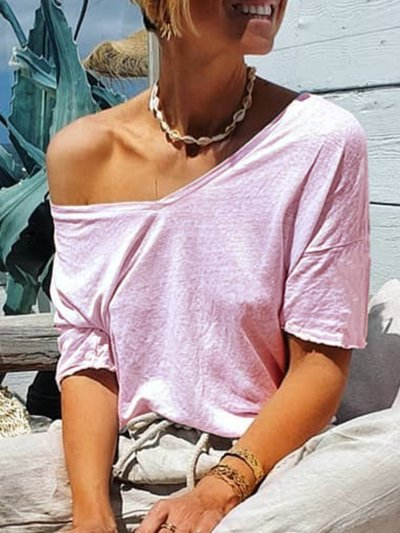 Casual Solid V Neck Shirts & Tops