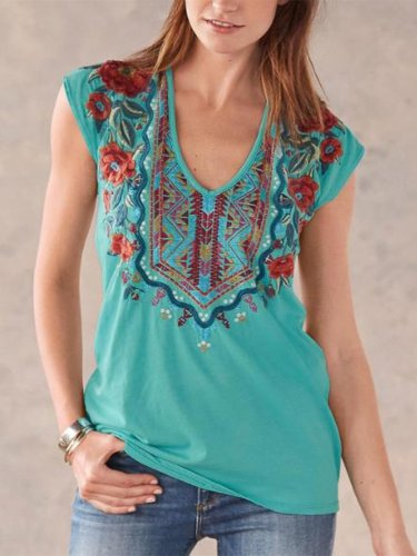 Casual V Neck Printed Sleeveless Blouse