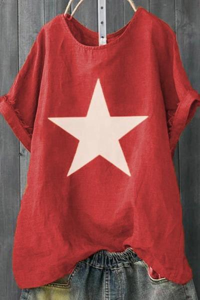 Star Print Casual Loose T-shirts
