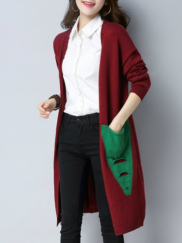Patchwork Long Sleeve Cotton Cardigans