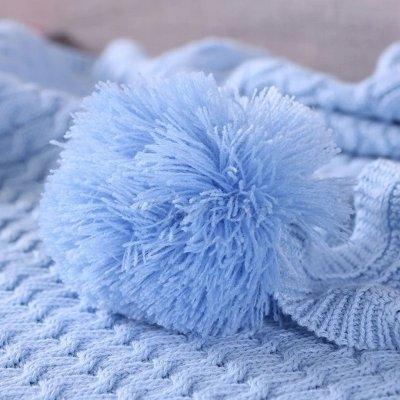 Solid Pompom Triming Knit Blankets