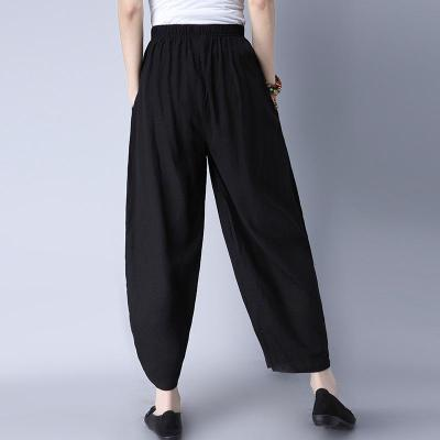 Loose Trousers Woman Elastic Waist Retro Embroidery Vintage Wide Leg Pants