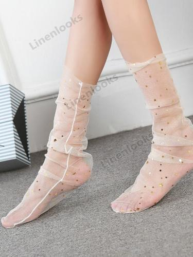 Ladies Fashion Lace Stockings Transparent Crystal Socks
