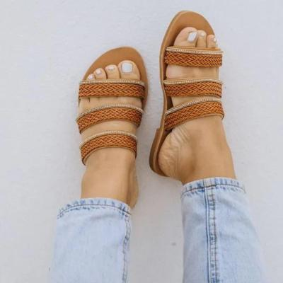 Brown Holiday Leather Flat Heel Summer Slippers